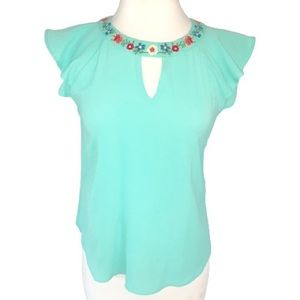 Mine Anthropologie Embroidered Keyhole Top